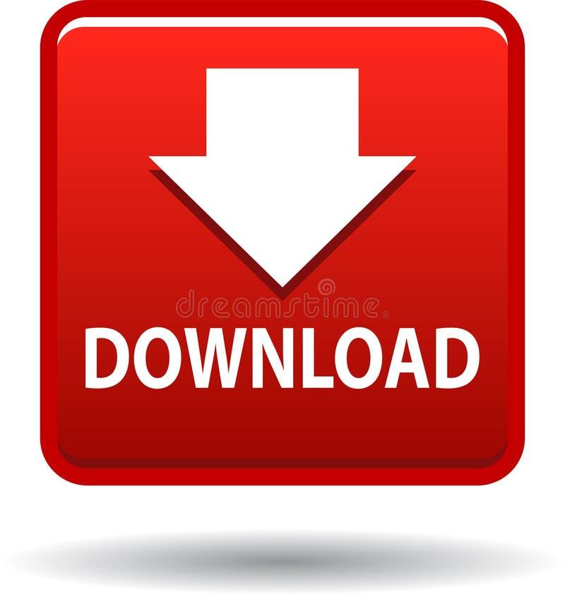 Rouge d'icône de Web de bouton de téléchargement illustration stock