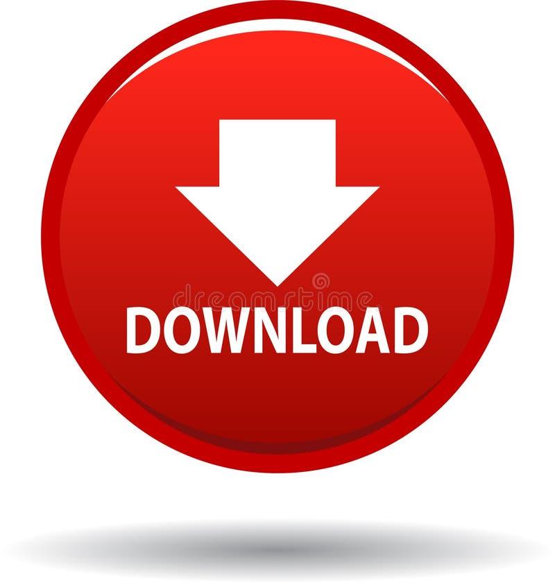 Rouge d'icône de Web de bouton de téléchargement illustration libre de droits