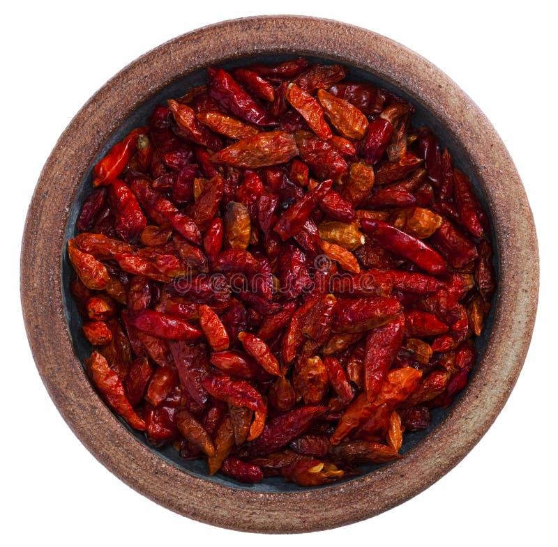 rouge d'isolement chaud de poterie de poivre de s/poivron de cuvette photos libres de droits