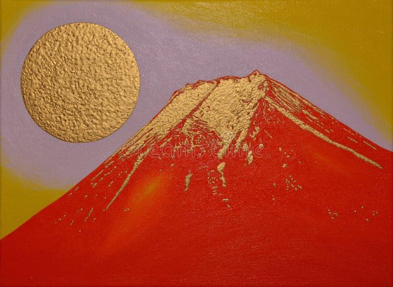 Rouge d'or Mt Fuji de ville Japon de Fujiyoshida image libre de droits