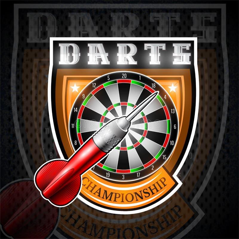 On rouge darde avec la cible ronde au centre du bouclier Logo de sport pour tout jeu ou championnat de dards illustration stock