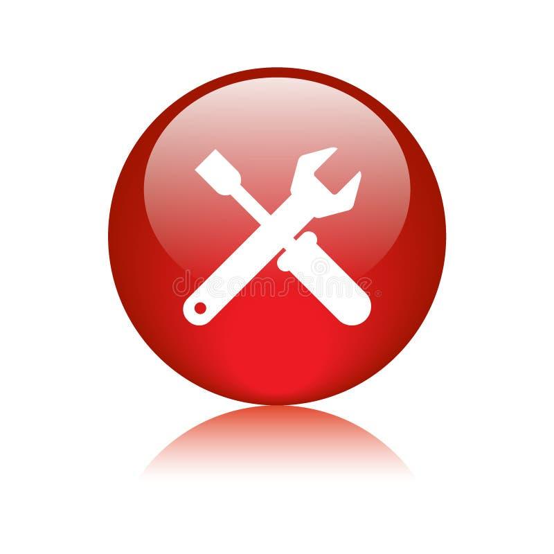 Rouge de bouton d'icône de support technique illustration libre de droits