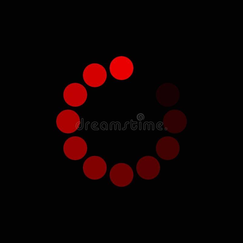 Rouge de chargement de cercle sur le fond noir icône de chargement de cercle pour votre conception de site Web, logo, appli, UI S illustration libre de droits