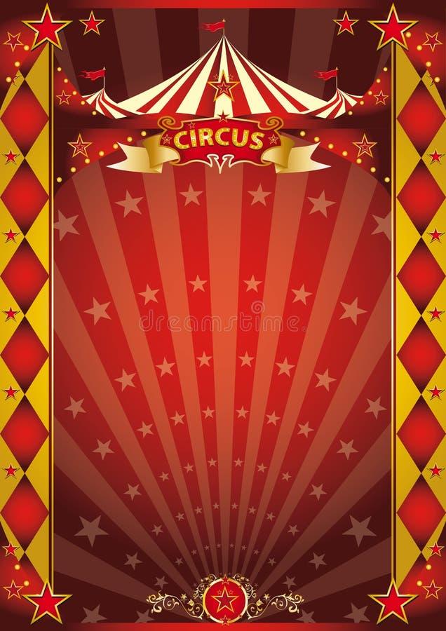Rouge de cirque et affiche de losange d'or illustration libre de droits