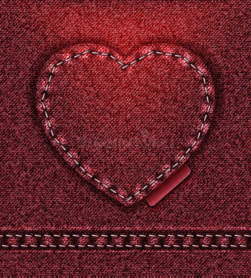 Rouge de coeur de jeans   illustration libre de droits