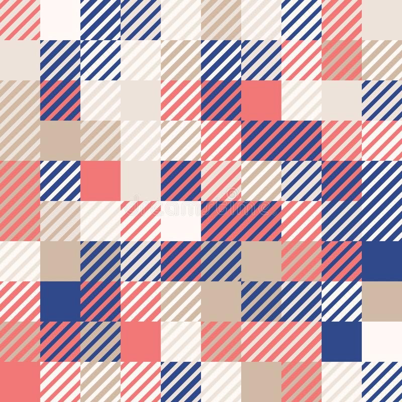 Rouge de corail et bleu marine avec de l'or Fond géométrique abstrait coloré aléatoire de modèle de mosaïque illustration de vecteur