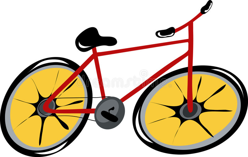 rouge de dessin animé de bicyclette photo stock
