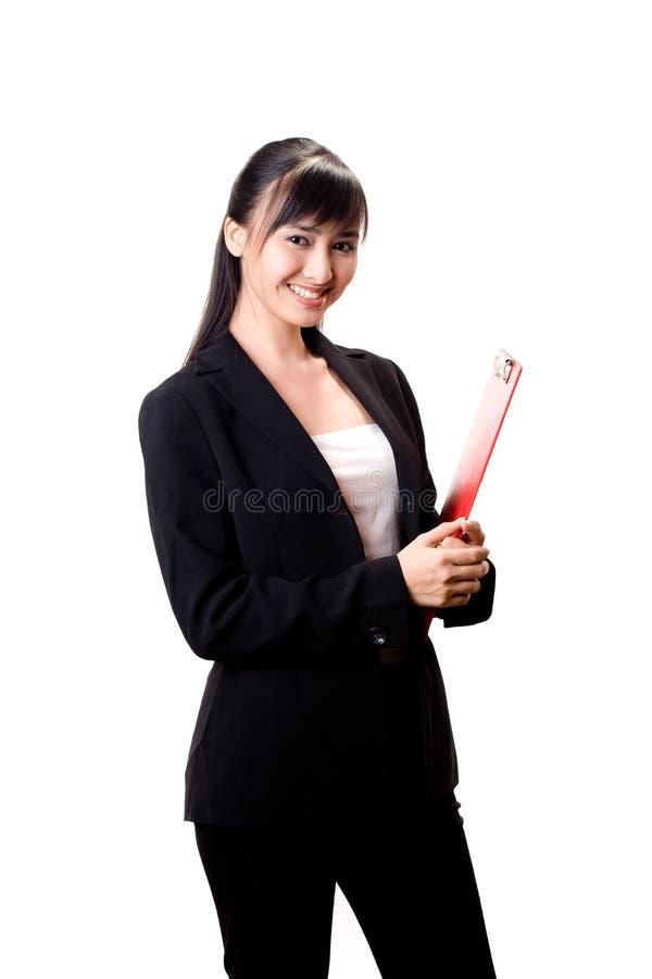rouge de fichier de femme d'affaires photographie stock