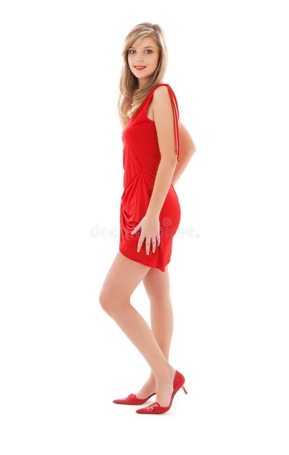 rouge de fille de robe beau image stock