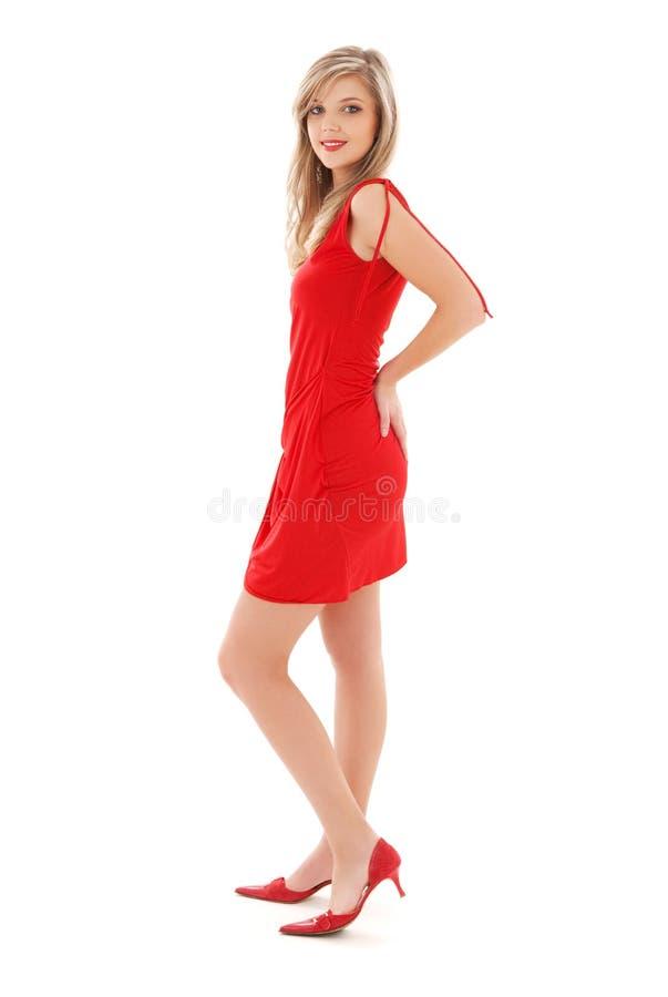 rouge de fille de robe beau photos stock