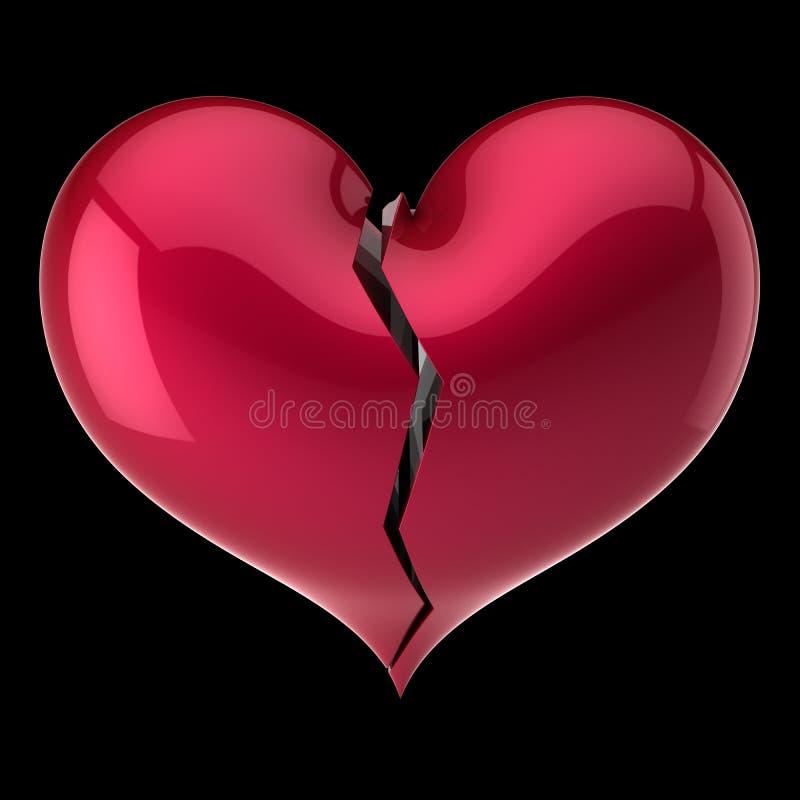 Rouge de forme du coeur brisé symbole criqué de dépression d'amour d'échec illustration libre de droits