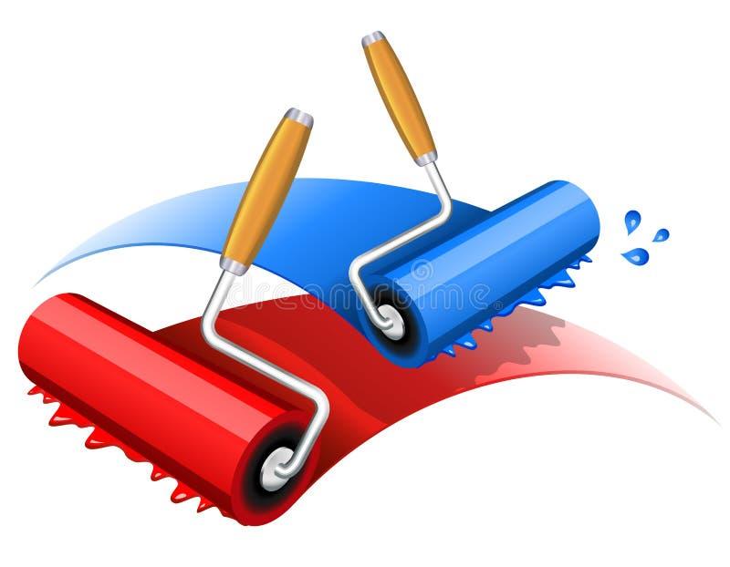 Rouge de peinture et bleu illustration de vecteur