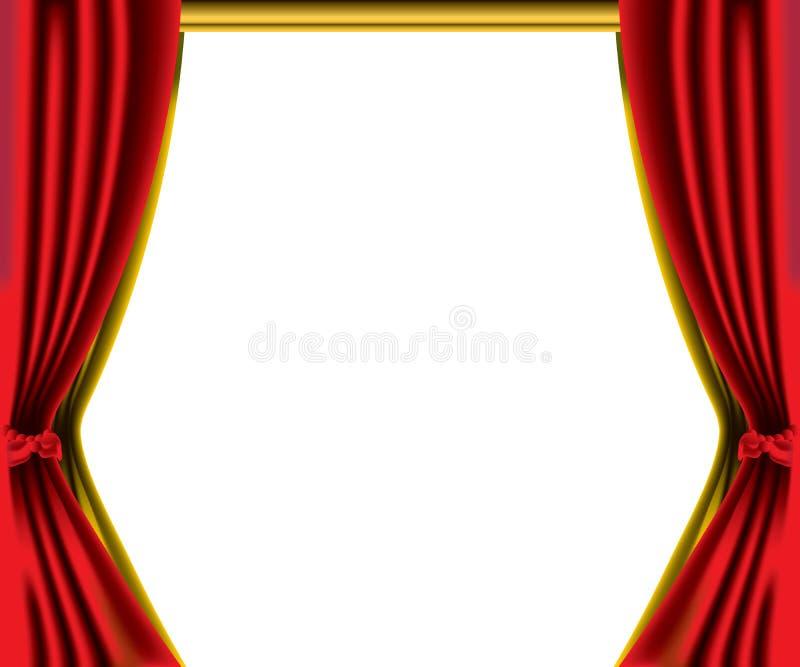 rouge de rideau en cadre illustration de vecteur