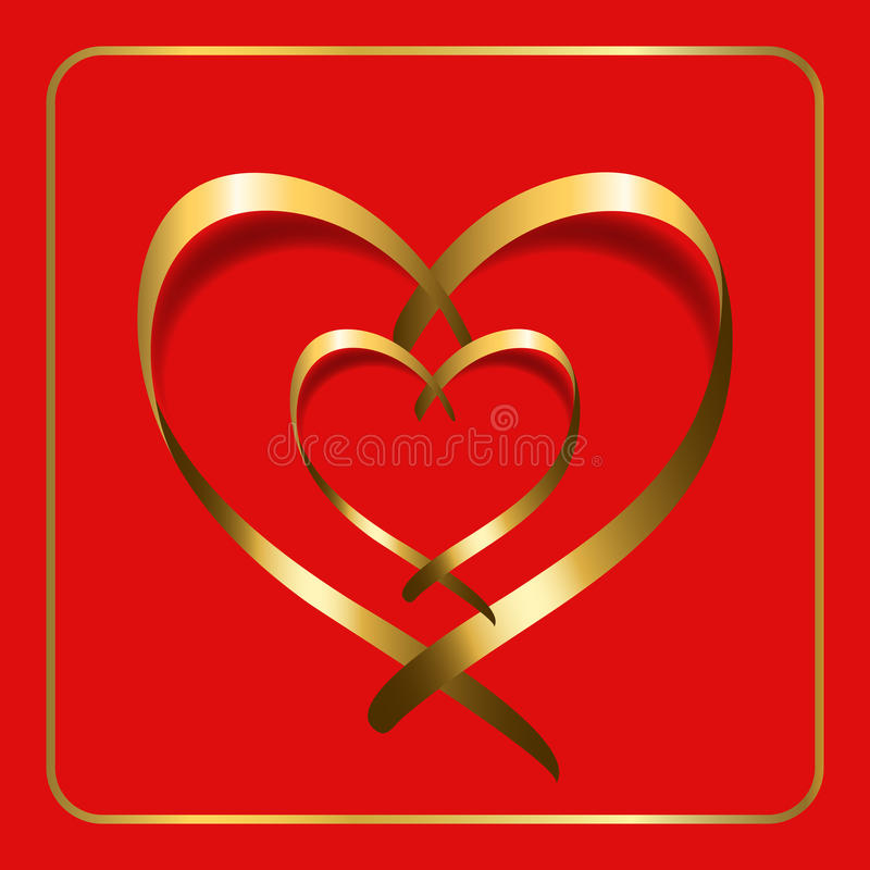 Rouge 2 de ruban de coeur d'or illustration stock