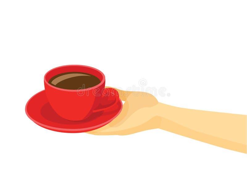Rouge de tasse de café sur la soucoupe du plat dans la main humaine illustration libre de droits