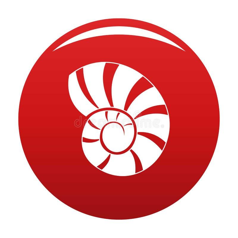 Rouge de vecteur d'icône de coquille de récif illustration stock