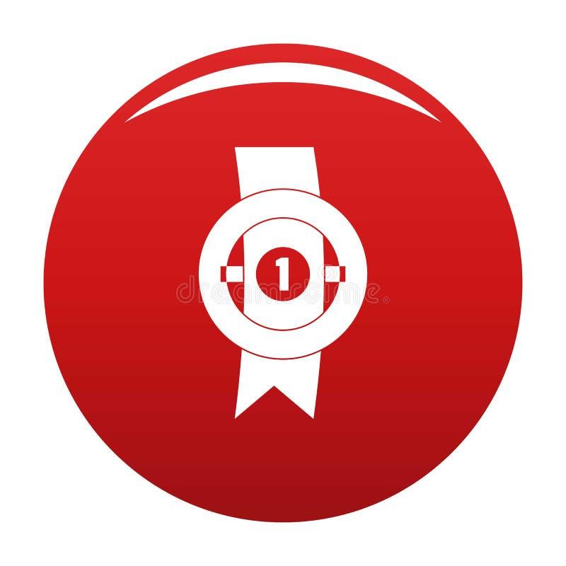 Rouge de vecteur d'icône de ruban de récompense illustration libre de droits