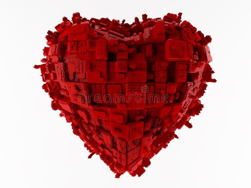 Rouge de ville de coeur illustration stock