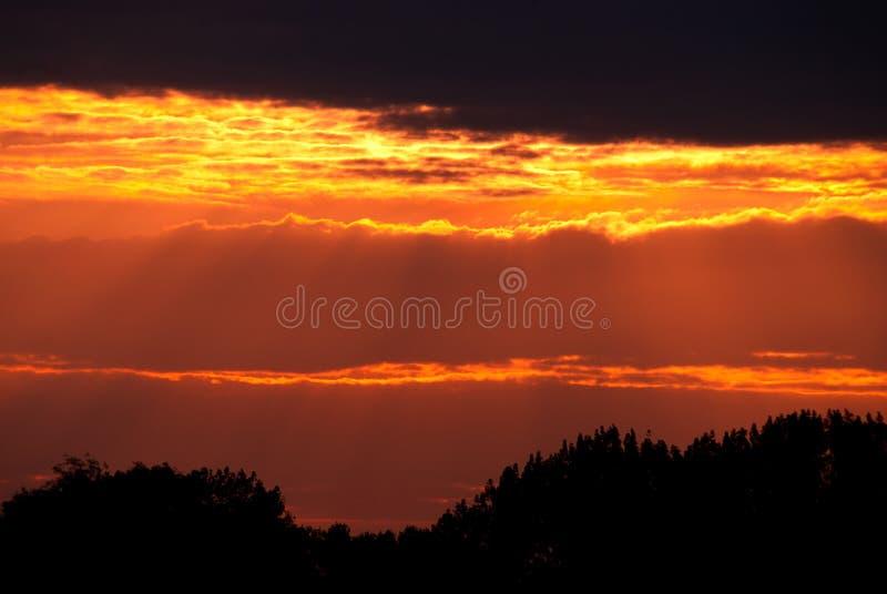 Rouge du feu de coucher du soleil image libre de droits