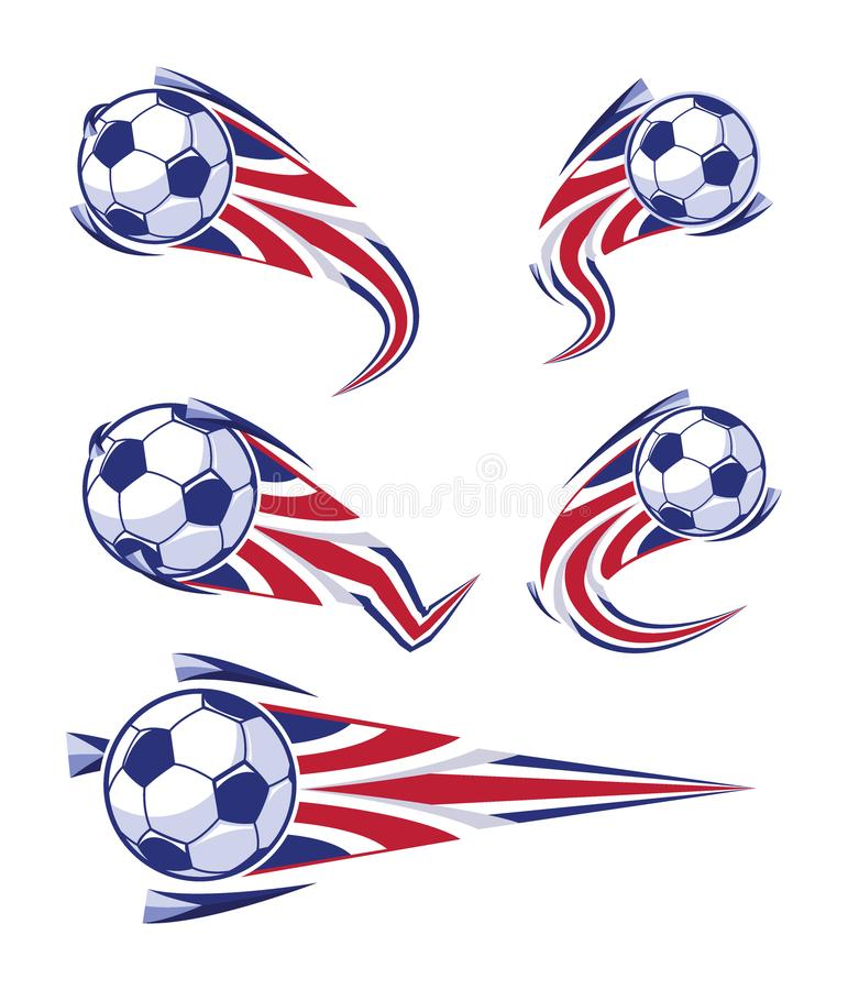 Rouge du football et ensemble de symboles blancs bleus du football illustration stock