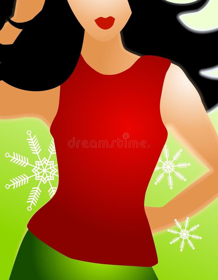 Rouge du model de mode de l'hiver 2 illustration de vecteur