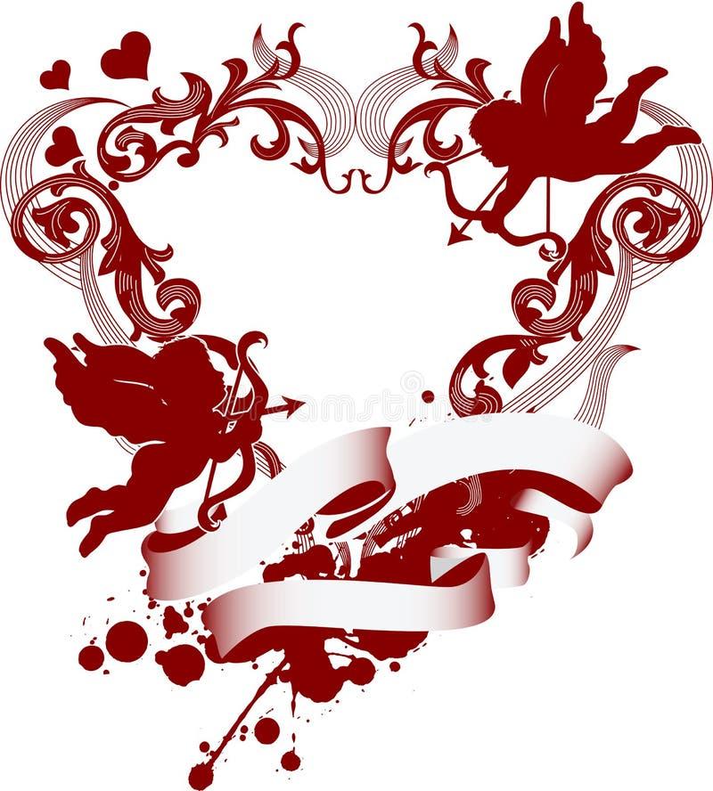 Rouge en filigrane d 39 ornement de coeur de cupidon illustration de vecteur illustration du - Image de cupidon gratuite ...