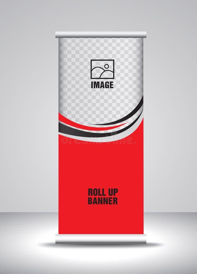 Rouge enroulez le vecteur de calibre de banni?re, banni?re, support, conception d'exposition, publicit?, tirez vers le haut, x-ba illustration libre de droits