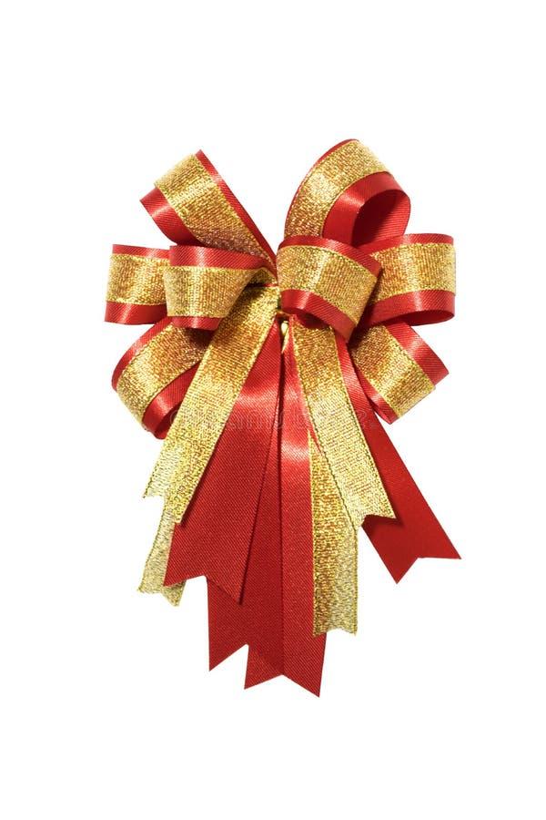 Rouge et arc de fantaisie de cadeau d'or image libre de droits