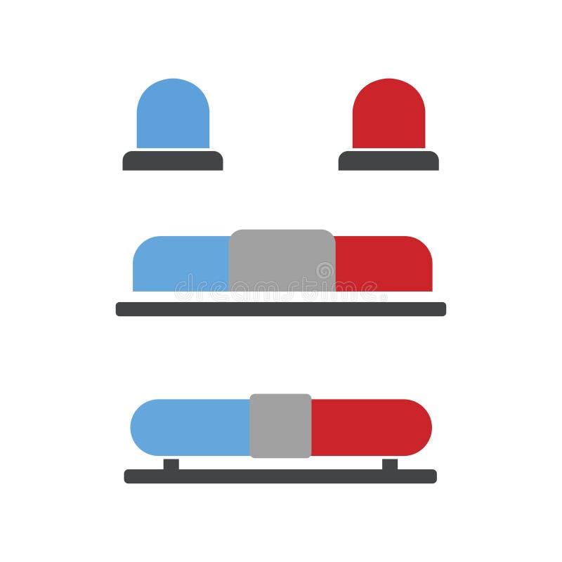 Rouge et bande dessinée bleue de lumière clignotante signe pour la police, l'ambulance, ou de sapeurs-pompiers sirène Style plat  illustration libre de droits