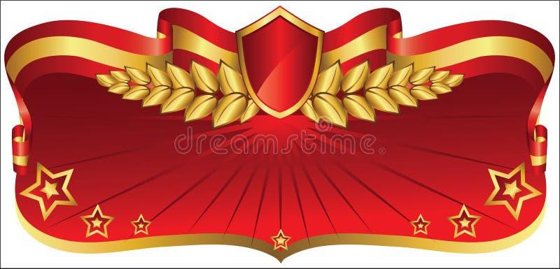 Rouge et bannière d'or illustration de vecteur
