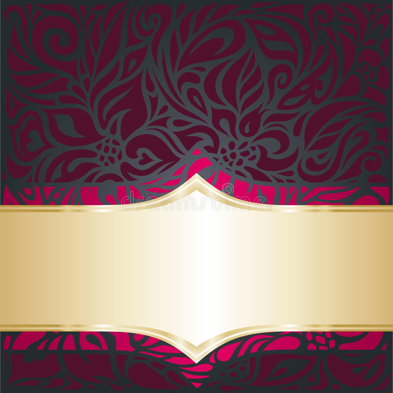 Rouge et calibre de luxe royal d'invitation de vintage d'or illustration de vecteur