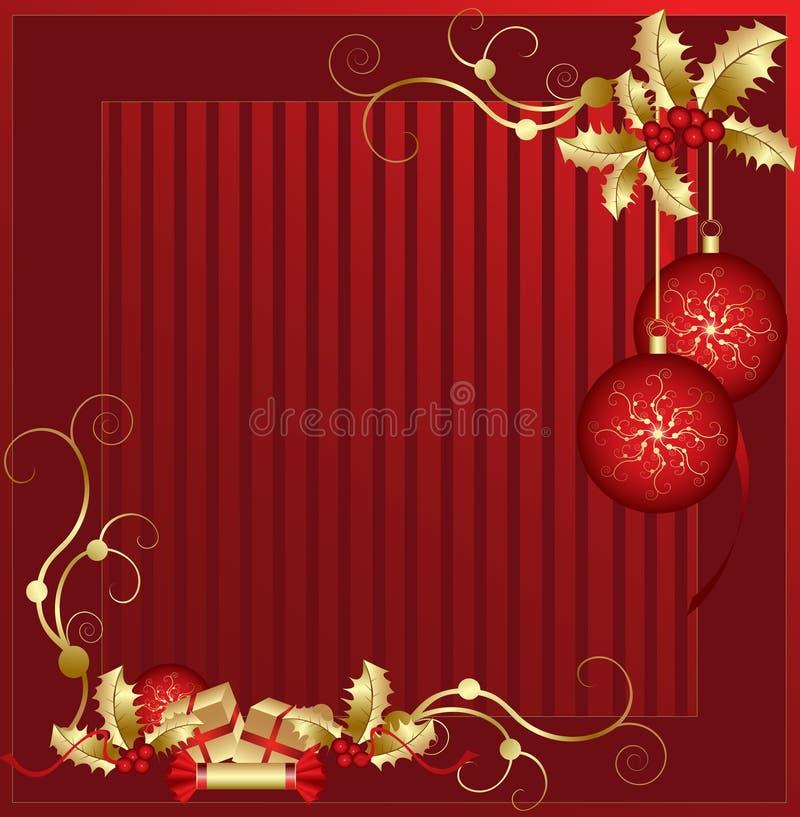 Rouge et décorations de Noël d'or illustration de vecteur