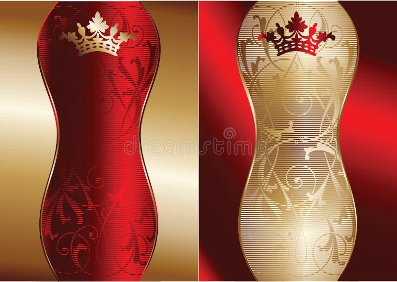 Rouge et drapeau fleuri d'or illustration libre de droits