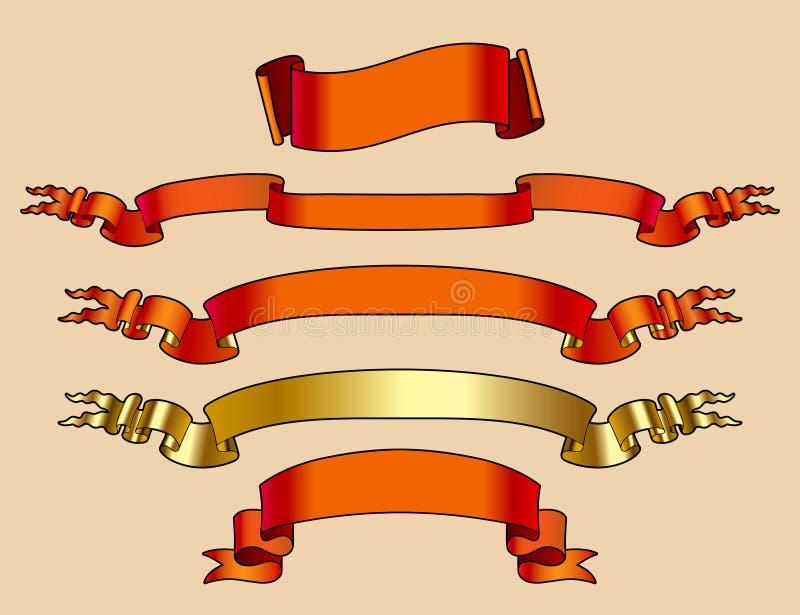 Rouge et drapeaux d'or illustration de vecteur