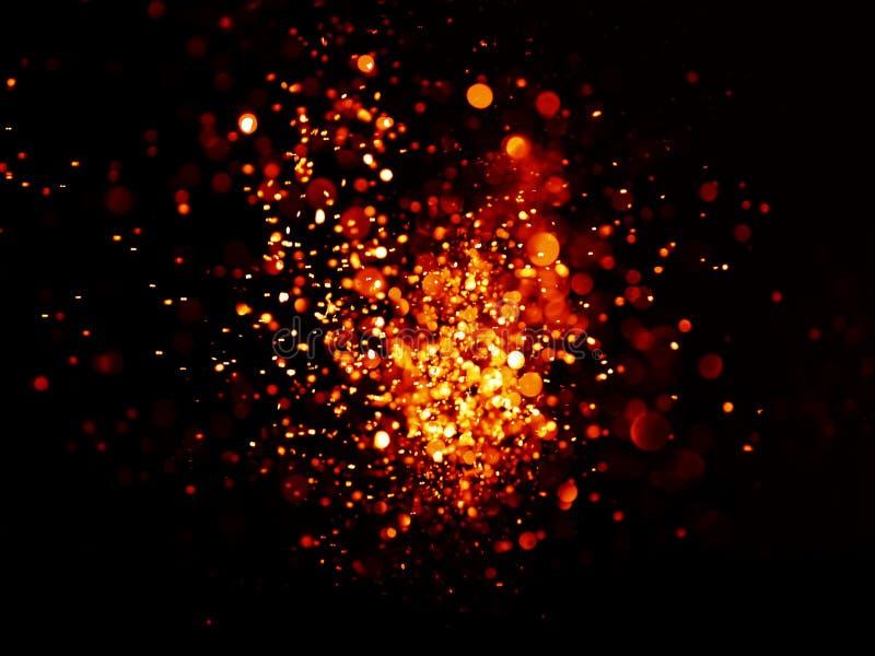 Rouge et fond abstrait élégant de Noël de fête d'or avec des lumières de bokeh photographie stock