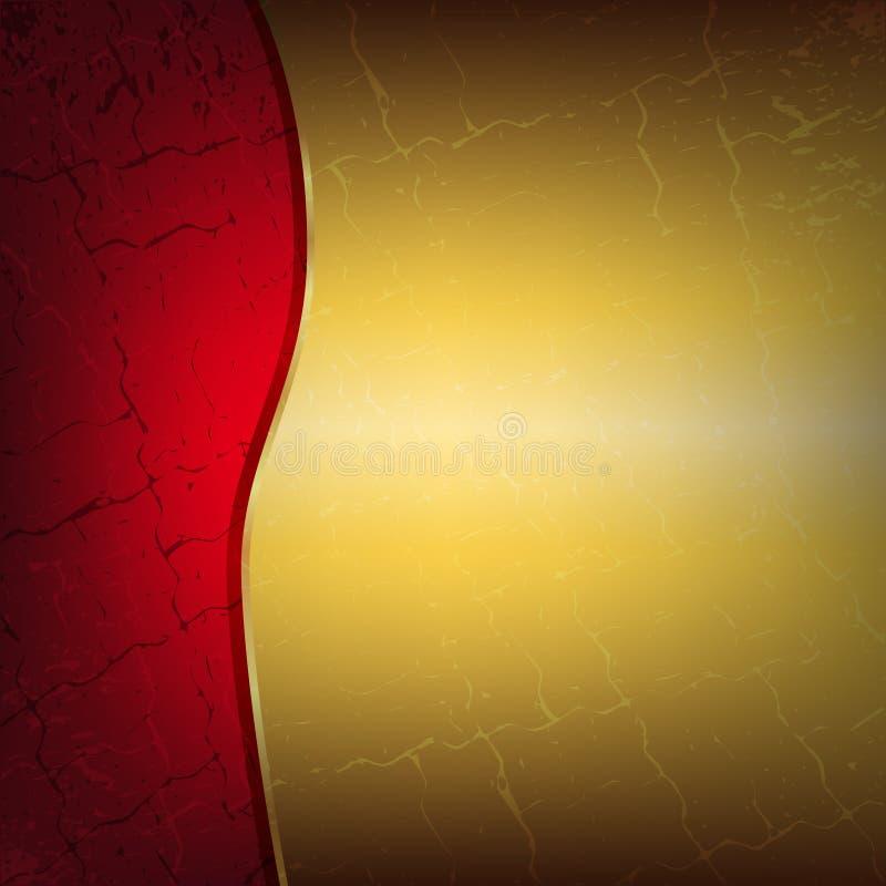 Rouge et fond métallique d'or avec des fissures illustration stock