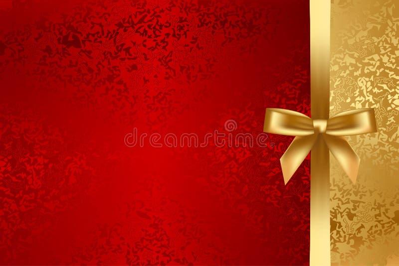 Rouge et fond texturisé d'or avec l'arc illustration libre de droits
