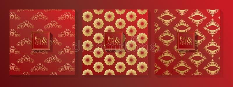 Rouge et modèle d'or illustration stock