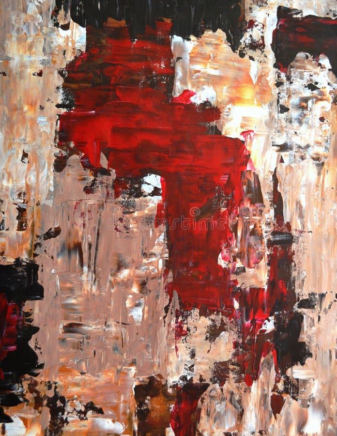 Rouge et peinture d'art abstrait de Brown photo libre de droits