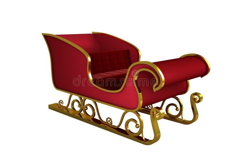 Rouge et traîneau de Santa d'or illustration libre de droits