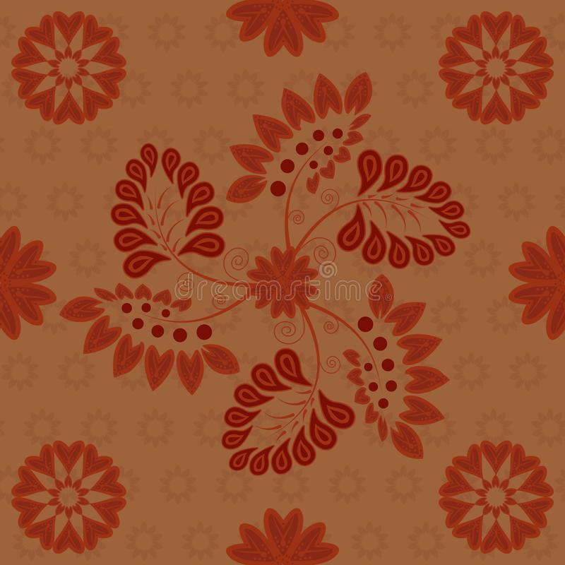 Rouge foncé rouge foncé de modèle sans couture indien sur le fond de cuivre illustration libre de droits