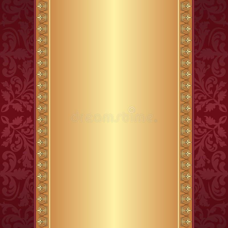 Rouge foncé et fond d'or illustration stock