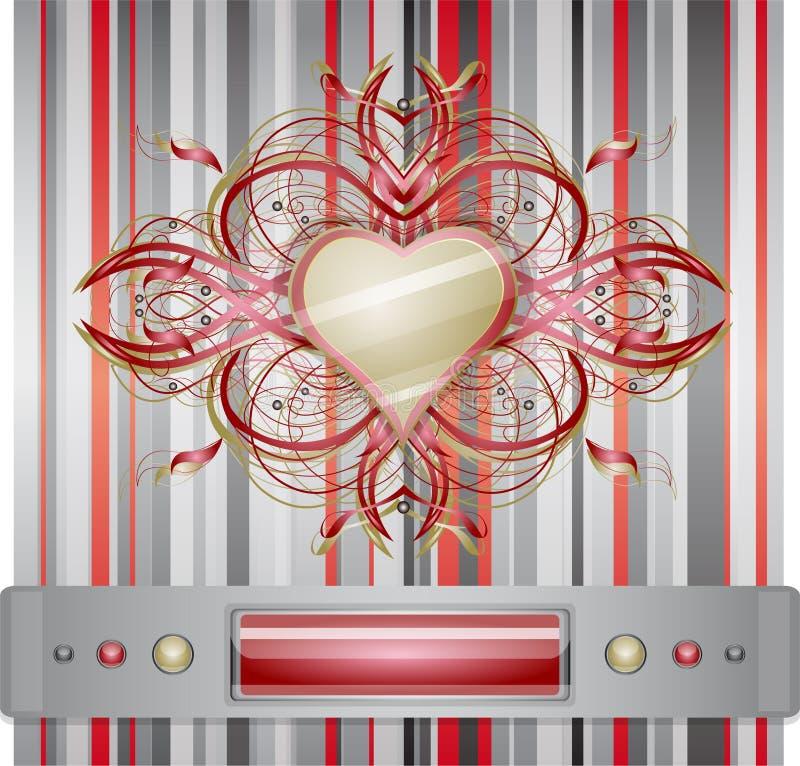Rouge - fond gris avec le coeur. illustration libre de droits