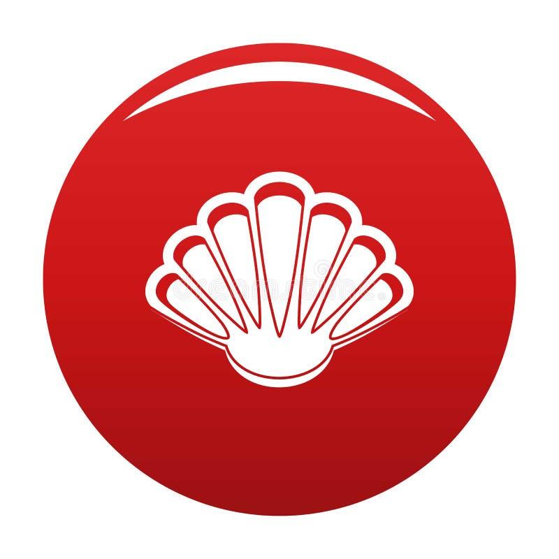 Rouge gentil de vecteur d'icône de coquille illustration libre de droits
