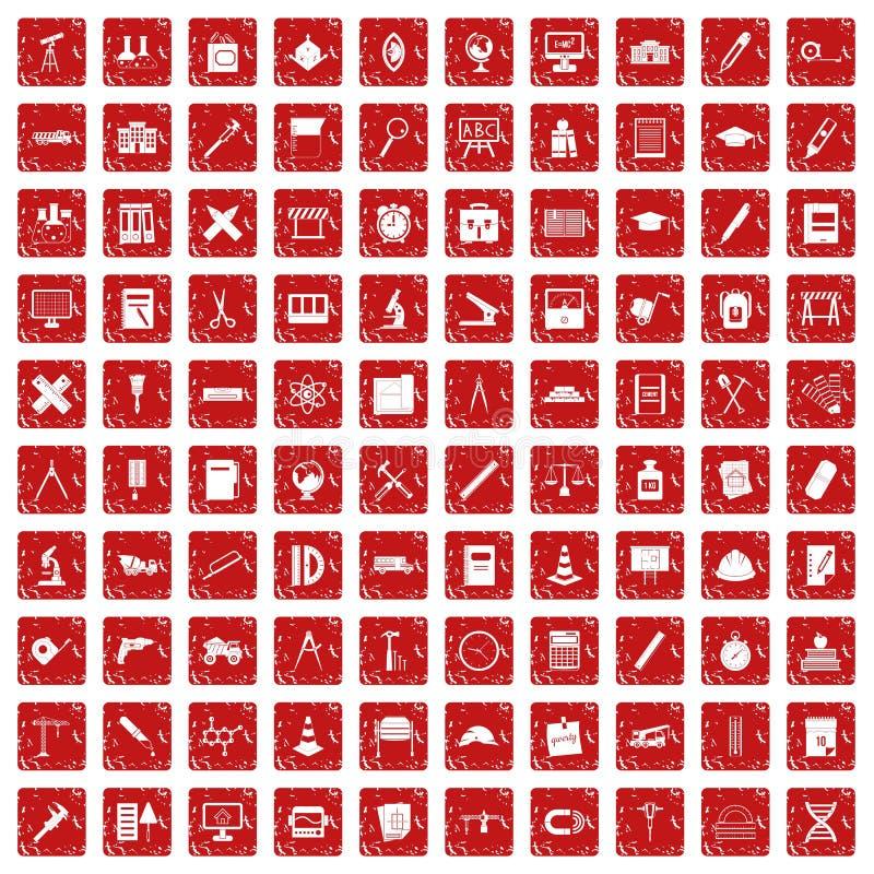 100 rouge grunge réglé de boussole par icônes illustration libre de droits