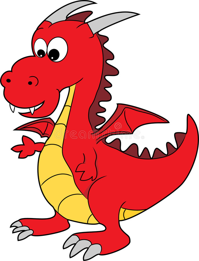 rouge heureux de dragon mignon de dessin animé photo libre de droits