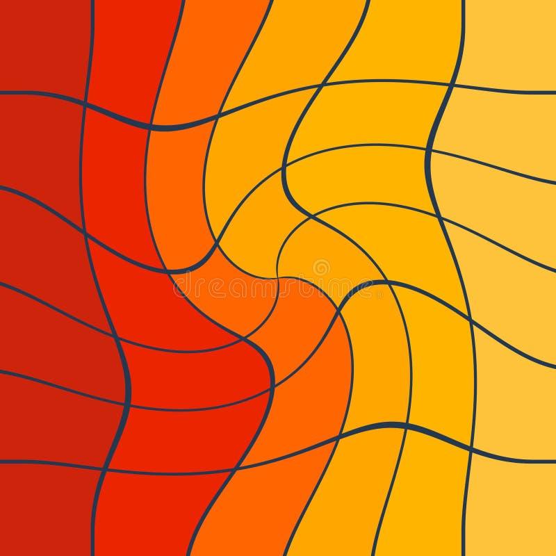 Rouge jaune abstrait artistique et collage dynamique orange illustration stock