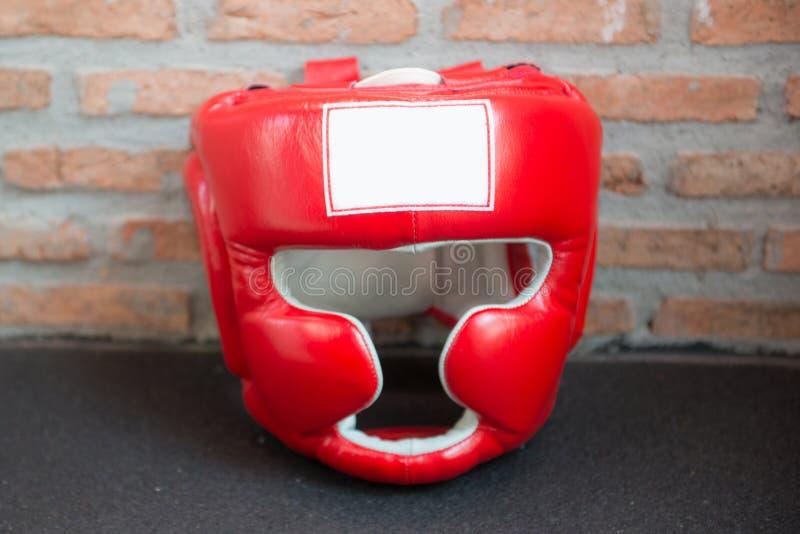 Rouge le casque de boxe photographie stock