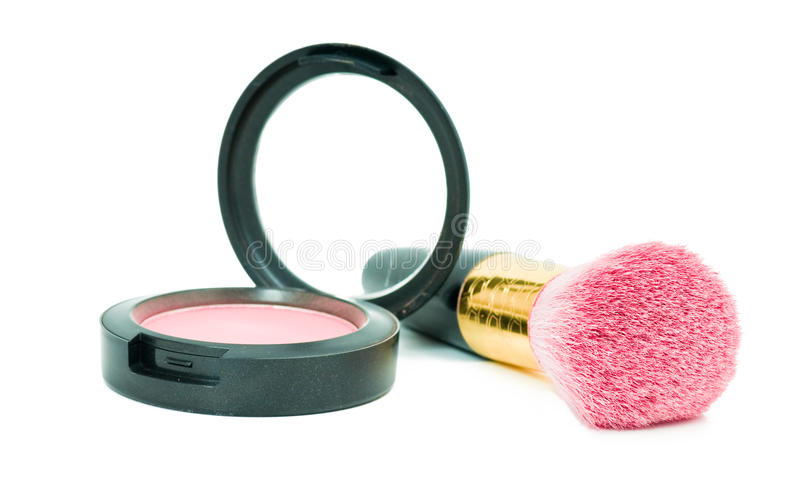 Rouge make-up with brush royalty free stock photo