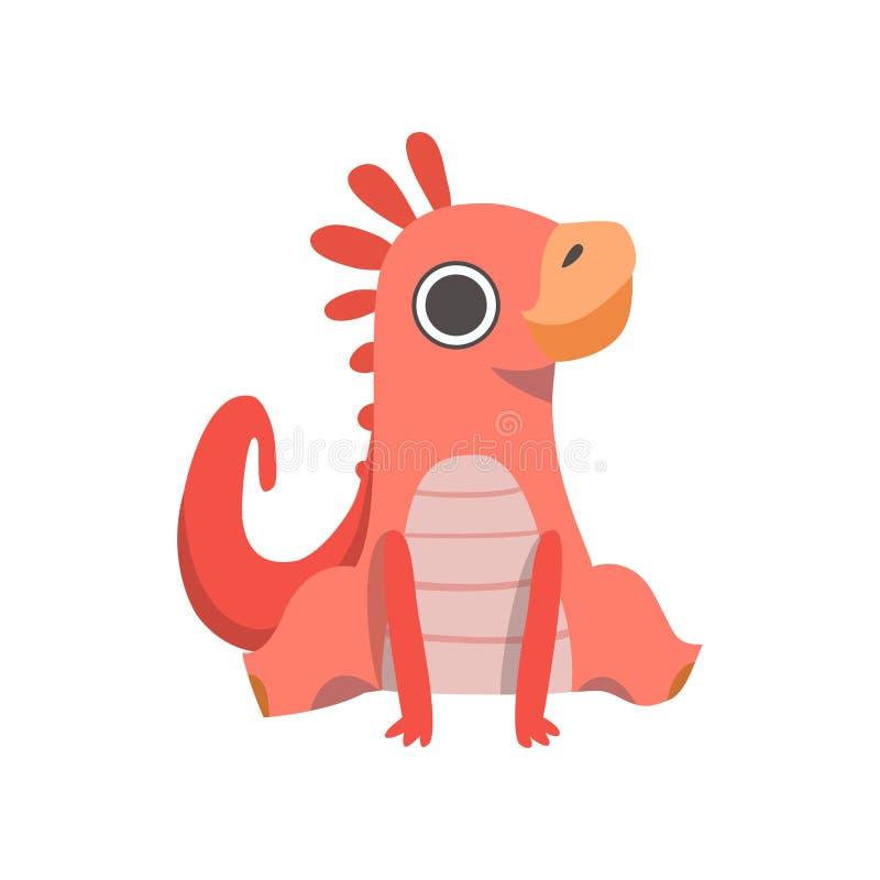 Rouge mignon petit Dino, illustration adorable de vecteur de caractère de dinosaure de bébé illustration de vecteur
